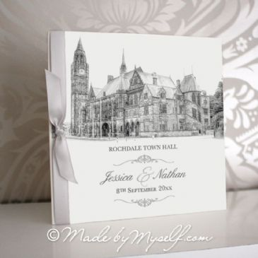 Rochdale Town Hall Pocketfold Wedding Invitation - Includes RSVP & Guest Information